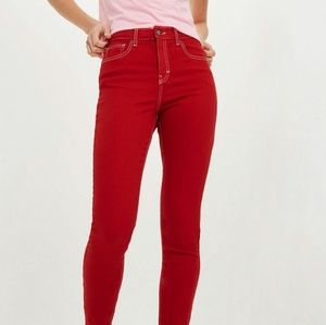Topshop Moto Jamie Jeans Red W28 to Fit L32